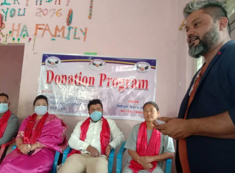 आर्थिक सहयोगका साथ सिद्धार्थ बालगृह पुग्यो मिलिजुली टिकटक परिवार